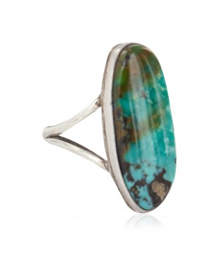 Handmade Navajo Certified Authentic .925 Sterling Silver Signed Natural Turquoise Native American Ring 16827-100