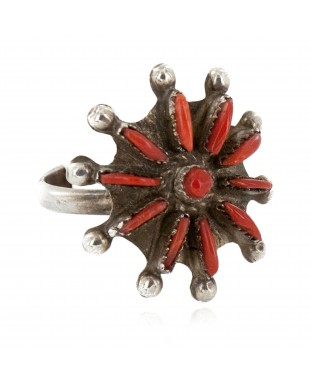 Handmade Petit Point Zuni Certified Authentic .925 Sterling Silver Coral Native American Ring  16275