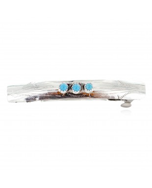 Handmade Silver Certified Authentic Navajo Natural Turquoise Native American Hair Barrette 10346-7