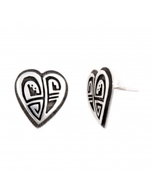 Heart .925 Sterling Silver Certified Authentic Handmade Hopi Native American Earrings  27255