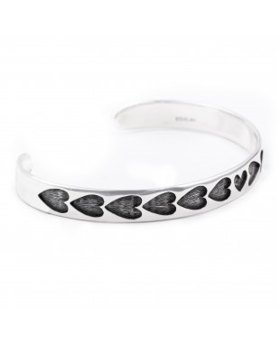 Heart .925 Sterling Silver Certified Authentic Handmade Hopi Overlay Native American Bracelet 13219-3