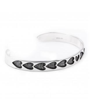 Heart .925 Sterling Silver Certified Authentic Handmade Hopi Overlay Native American Bracelet 13219-3
