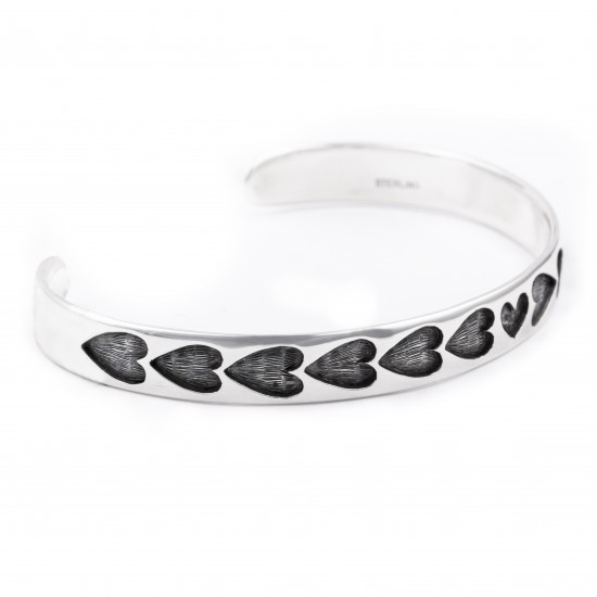 Heart .925 Sterling Silver Certified Authentic Handmade Hopi Overlay Native American Bracelet 13219-3 All Products NB180518193746 13219-3 (by LomaSiiva)