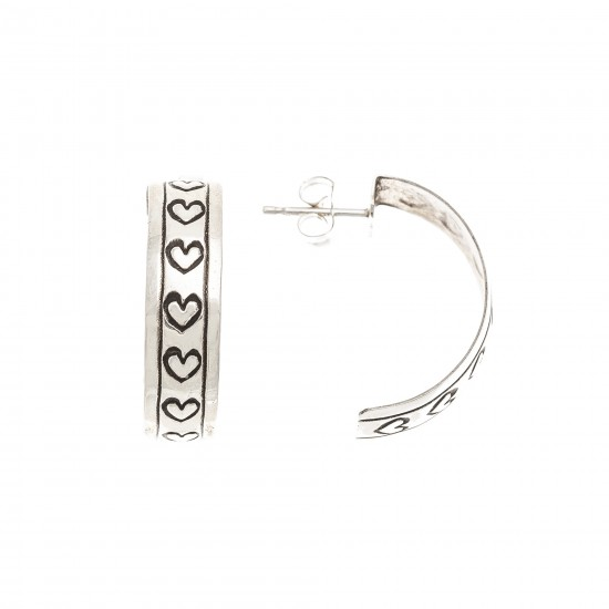 Heart .925 Sterling Silver Certified Authentic Handmade Navajo Native American Earrings 13185-1 All Products NB180612014503 13185-1 (by LomaSiiva)