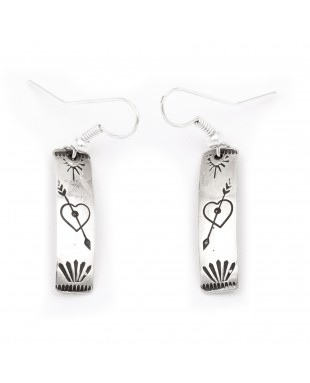Heart Arrow .925 Sterling Silver Certified Authentic Handmade Navajo Native American Earrings 27259-2