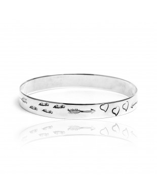 Heart Arrow Feather Sun .925 Sterling Silver Certified Authentic Hopi Handmade Native American Bangle Bracelet 22215