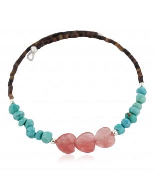 Heart Certified Authentic Natural Pink Quartz Heishi Navajo Native American Adjustable Wrap Bracelet 13151-57