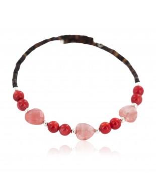 Heart Navajo Certified Authentic Heishi Coral Pink Quartz Native American Adjustable Wrap Bracelet 13151-76