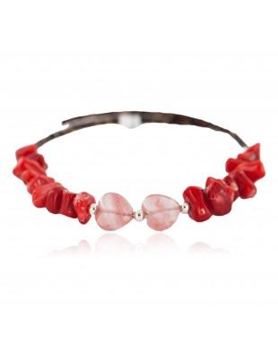 Heart Navajo Certified Authentic Heishi Coral Pink Quartz Native American Adjustable Wrap Bracelet 13159-14