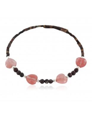 Heart Navajo Certified Authentic Heishi Jasper Pink Quartz Native American Adjustable Wrap Bracelet 13151-72