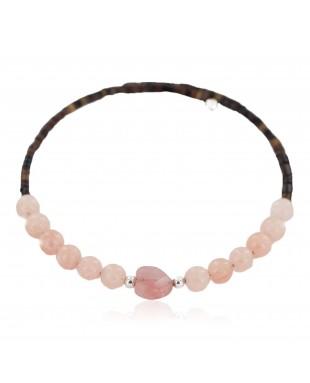 Heart Navajo Certified Authentic Pink Quartz Native American Adjustable Wrap Bracelet 13151-73