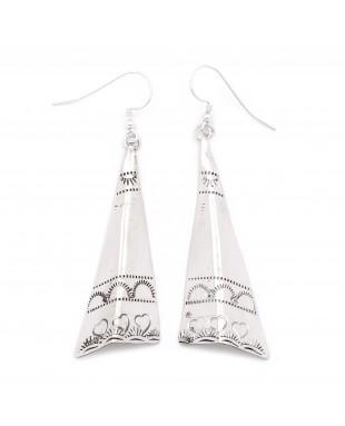 Heart Sun .925 Starling Silver Certified Authentic Handmade Navajo Native American Earrings  27265-4