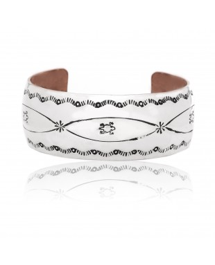 Horny Toad .925 Sterling Silver Pure Copper Certified Authentic Handmade Wide Rare Navajo Native American Cuff Bracelet 24493-1