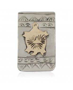 Horny Toad Certified Authentic 12kt Gold Filled and .925 Sterling Silver Handmade Navajo Native American Money Clip 91002