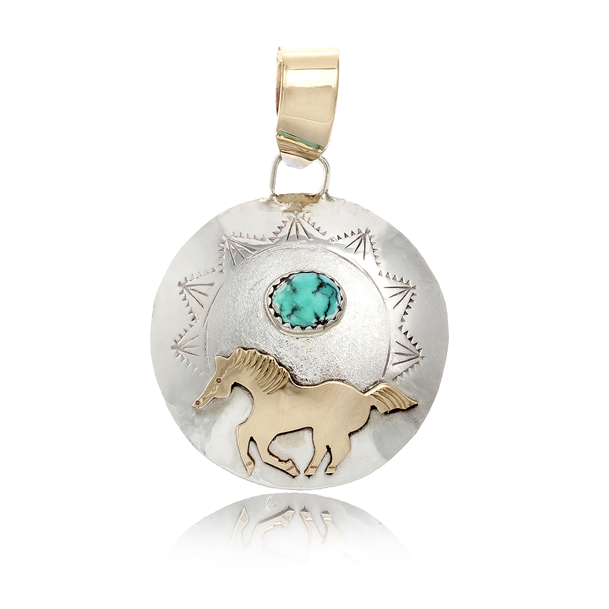 Horse 12kt Gold Filled and .925 Sterling Silver Certified Authentic Handmade Very Delicate Navajo Native American Natural Turquoise Pendant 24510-1 Pendants NB160422235607 24510-1 (by LomaSiiva)