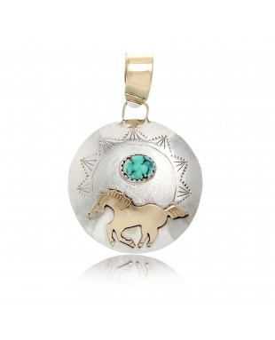 Horse 12kt Gold Filled and .925 Sterling Silver Certified Authentic Handmade Very Delicate Navajo Native American Natural Turquoise Pendant 24510-1