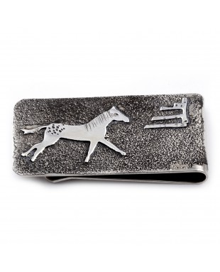 Horse .925 Sterling Silver Ray Begay Certified Authentic Handmade Navajo Native American Money Clip  13194-15