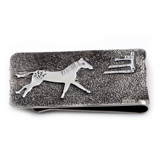 Horse .925 Sterling Silver Ray Begay Certified Authentic Handmade Navajo Native American Money Clip  13194-15 All Products NB180527020624 13194-15 (by LomaSiiva)