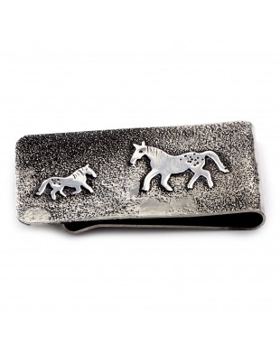 Horse .925 Sterling Silver Ray Begay Certified Authentic Handmade Navajo Native American Money Clip  13194-16