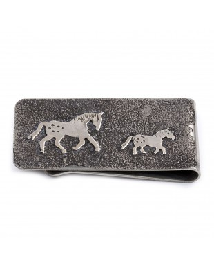 Horse .925 Sterling Silver Ray Begay Certified Authentic Handmade Navajo Native American Money Clip  13194-23