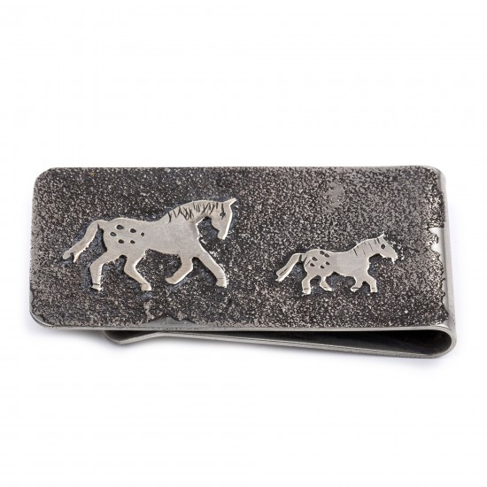 Horse .925 Sterling Silver Ray Begay Certified Authentic Handmade Navajo Native American Money Clip  13194-23 All Products NB180518224728 13194-23 (by LomaSiiva)
