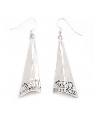 Horse Head Heart Horseshoe .925 Starling Silver Certified Authentic Handmade Navajo Native American Earrings  27265-5