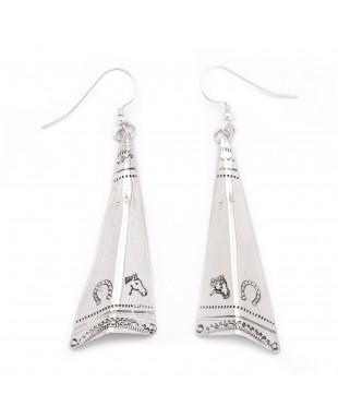 Horse Head Horseshoe .925 Starling Silver Certified Authentic Handmade Navajo Native American Earrings  27265-9