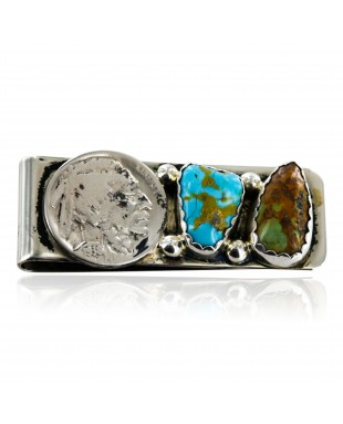 Indian Head Coin Handmade Certified Authentic Ben Taylor Rigg Navajo Nickel Natural Turquoise Native American Money Clip 11244