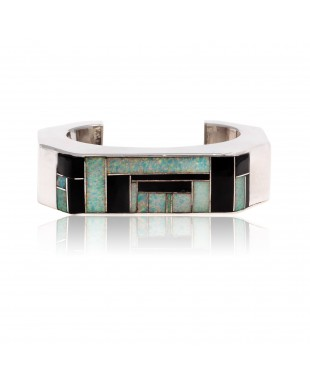 Inlay .925 Sterling Silver Certified Authentic Handmade Zuni Native American Opal and Black Onyx Cuff Bracelet 12469