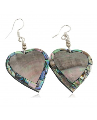 Inlay Heart Certified Authentic Navajo .925 Sterling Silver Hooks Natural Abalone Native American Dangle Earrings 18099-6