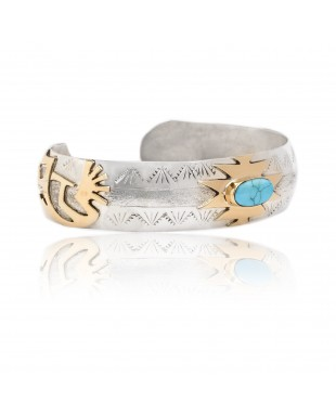 Kokopelli 12kt Gold Filled and .925 Sterling Silver Certified Authentic Handmade Delicate Navajo Native American Natural Turquoise Cuff Bracelet 12966-5