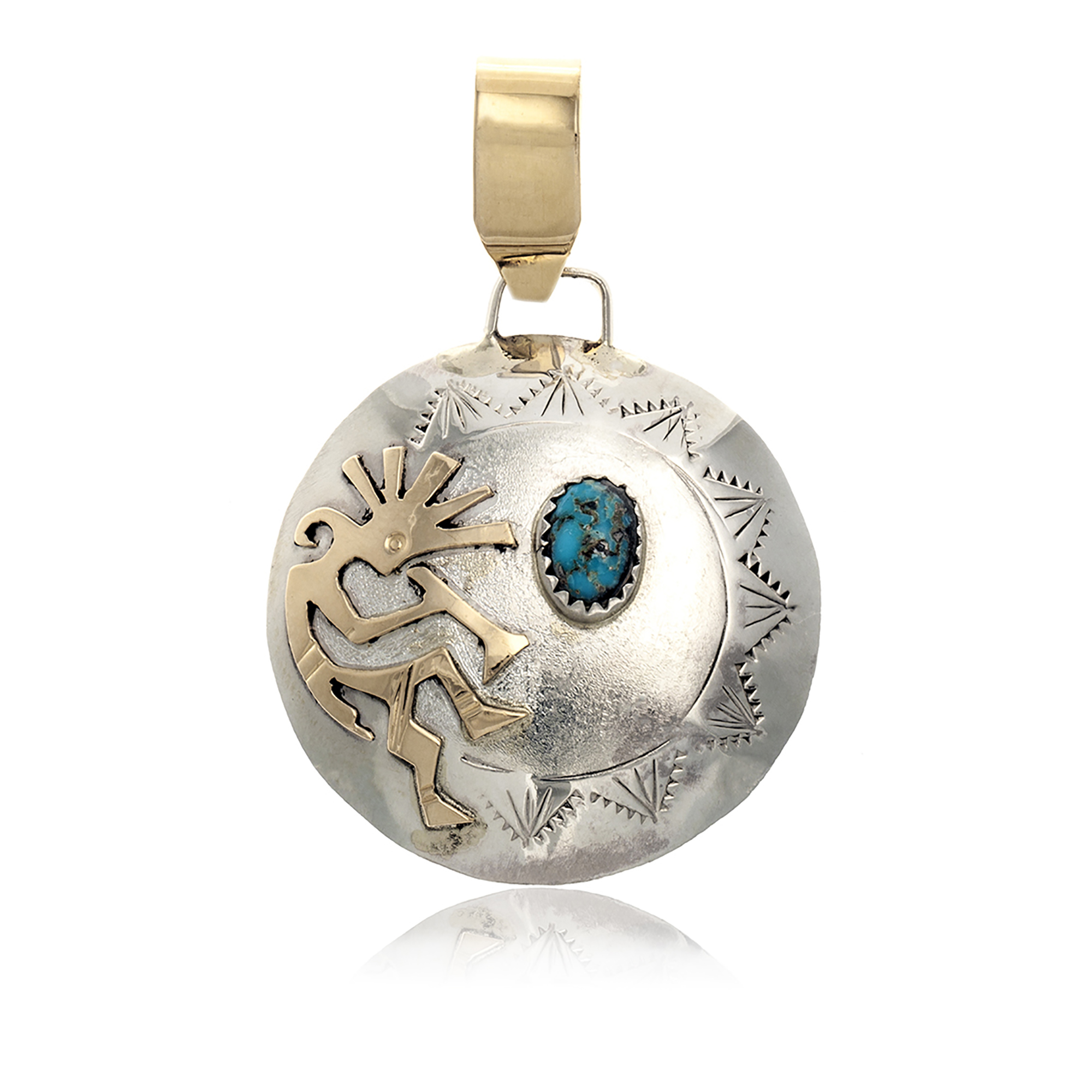 Kokopelli 12kt Gold Filled and .925 Sterling Silver Certified Authentic Handmade Navajo Native American Natural Turquoise Pendant 17042-8 Pendants NB160107223638 17042-8 (by LomaSiiva)