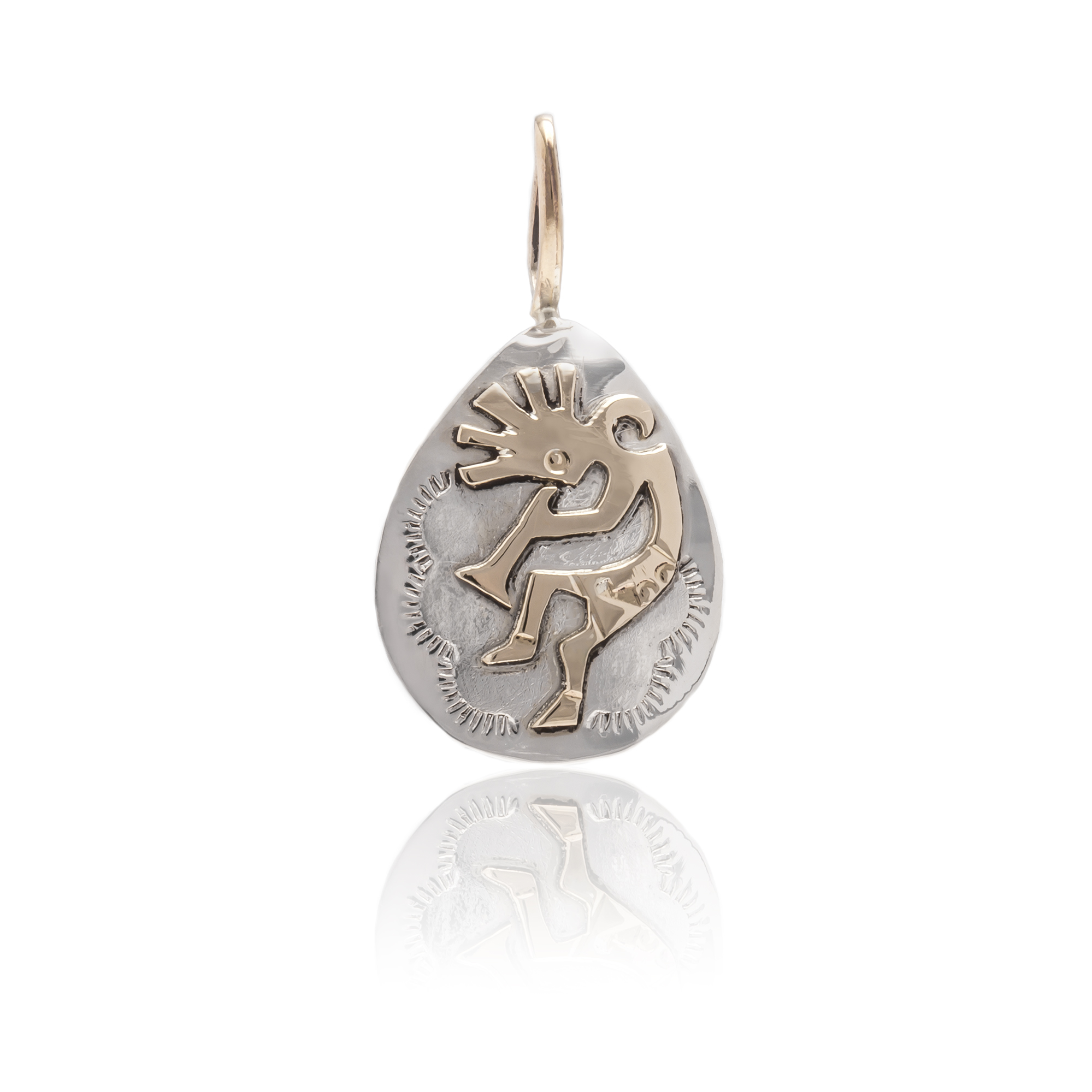 Kokopelli 12kt Gold Filled and .925 Sterling Silver Certified Authentic Handmade Very Delicate Navajo Native American Pendant 24472 All Products NB151219031543 24472 (by LomaSiiva)