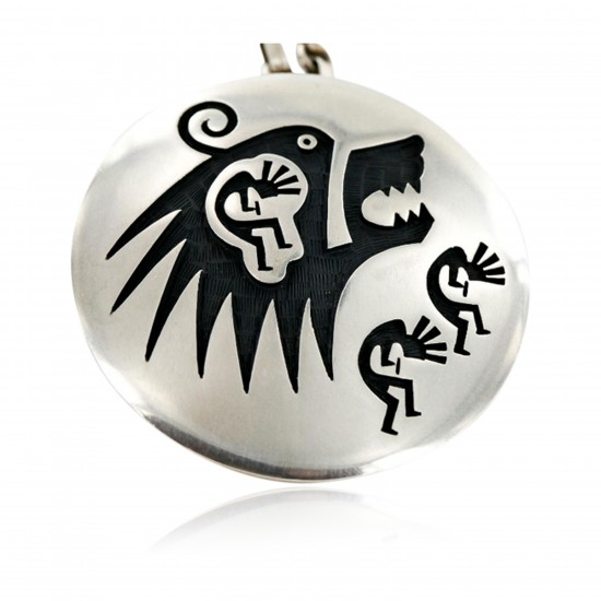 Kokopelli Bear Certified Authentic Hopi .925 Sterling Silver Signed Pin and Pendant Native American Necklace 15025 Pins 371180628050 15025 (by LomaSiiva)