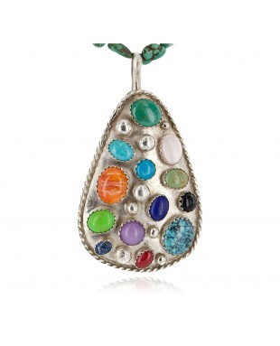 Large Certified Authentic .925 Sterling Silver Handmade Natural Turquoise Coral and Multicolor Stones Native American Necklace 24400-15771