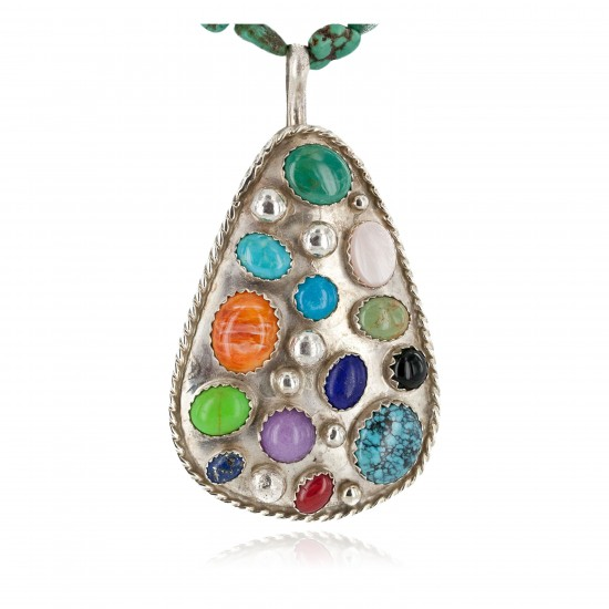 Large Certified Authentic .925 Sterling Silver Handmade Natural Turquoise Coral and Multicolor Stones Native American Necklace 24400-15771 All Products NB151030023714 24400-15771 (by LomaSiiva)
