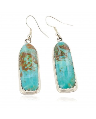 Large Certified Authentic Handmade Navajo .925 Sterling Silver Natural Turquoise Dangle Native American Dangle Earrings 27193-1