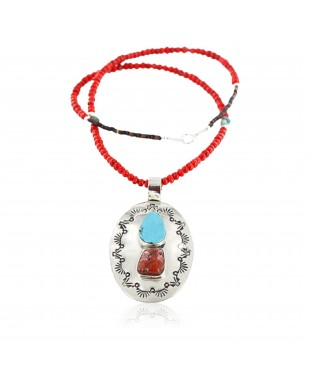 Large HANDMADE Certified Authentic Navajo Nickel Beauty Turquoise and CORAL Native American Necklace 371104957476