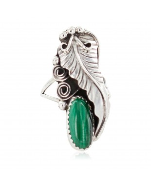 Leaf Navajo .925 Sterling Silver Certified Authentic Handmade Natural Malachite Native American Ring Size 6 1/2  13116-4