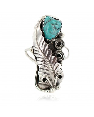 .925 Sterling Silver Navajo Certified Authentic Handmade Natural Turquoise Native American Ring Size 7 1/2 13089