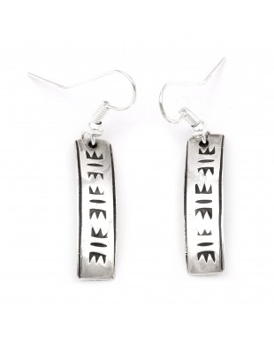 Lettering .925 Sterling Silver Certified Authentic Handmade Navajo Native American Earrings 27259-4
