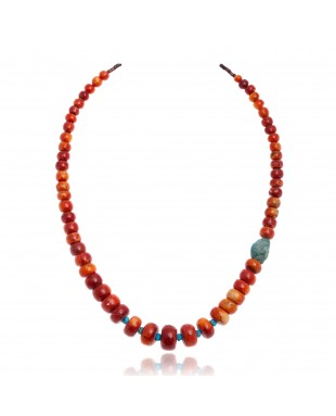 Limited Edition Natural Turquoise and Apple Sponge Coral .925 Sterling Silver Certified Authentic Navajo Native American Necklace 25570