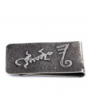 Lizard .925 Sterling Silver Ray Begay Certified Authentic Handmade Navajo Native American Money Clip  13194-14