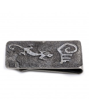 Lizard .925 Sterling Silver Ray Begay Certified Authentic Handmade Navajo Native American Money Clip  13194-28