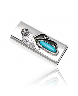 Natural Turquoise .925 Sterling Silver and Nickel Certified Authentic Navajo Native American Handmade Flower Leaf Lighter Case 18334
