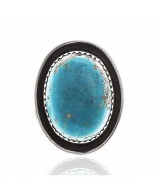 Natural Turquoise .925 Sterling Silver Certified Authentic Navajo Native American Handmade Concho Button 24560