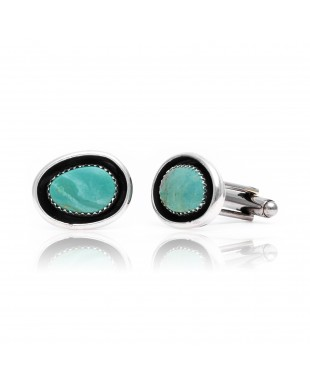 Natural Turquoise .925 Sterling Silver Certified Authentic Navajo Native American Handmade Cuff Links 19124