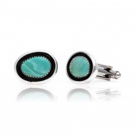 Natural Turquoise .925 Sterling Silver Certified Authentic Navajo Native American Handmade Cuff Links 19124 Cufflinks NB160130210039 19124 (by LomaSiiva)