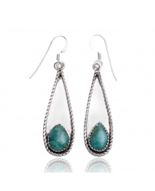 Natural Turquoise .925 Sterling Silver Certified Authentic Navajo Native American Handmade Dangle Earrings 97005