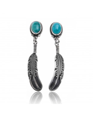 Natural Turquoise .925 Sterling Silver Certified Authentic Navajo Native American Handmade Feather Post Earrings  18317